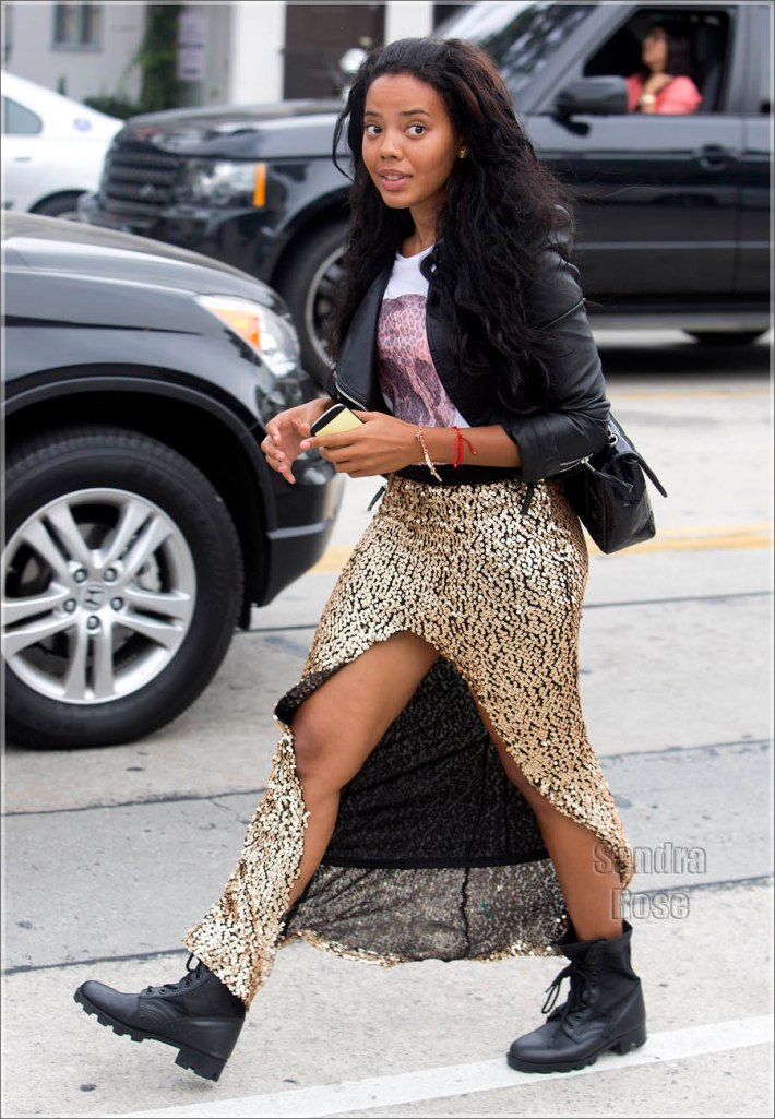 Angela Simmons was seen arriving at Urth Cafe on Melrose Avenue in West Hollywood, CA